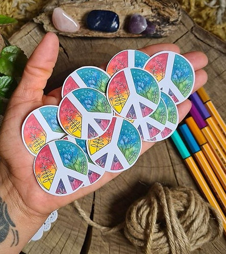 Peace sign stickers - rainbow planner stickers - diary - journal labels - weddin