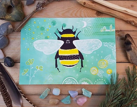 Bumblebee print - Alchemy air painting - Mixed media painting