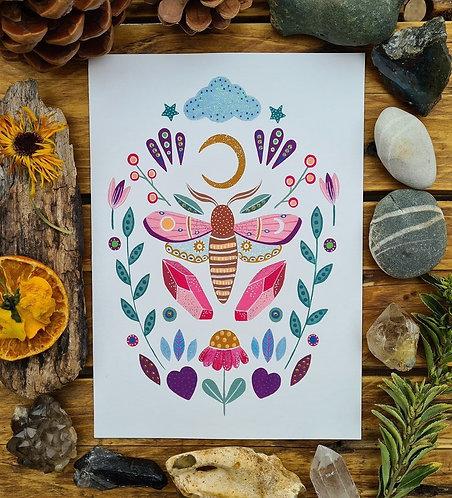 Magical moth art print -Crescent moon painting - Witch altar poster - Magic illu