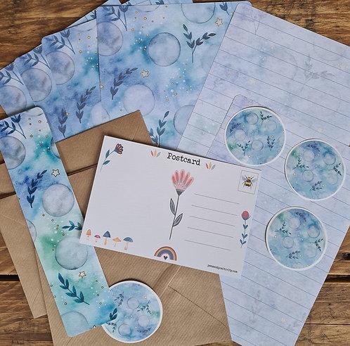 Full Moon Writing Set - Lunar Journaling - Blue Stationery - Writing paper pack