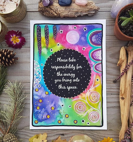 Home art print - positive quote painting - enegy - wildflowers poster - good vib