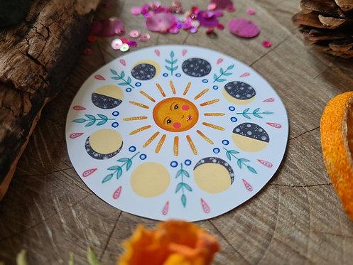 Moon phases and sun illustrated vinyl sticker - journal sticker - laptop sticker