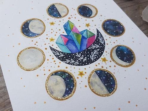 Crystal moon phases art print - bohemian art - spiritual poster - boho watercolo