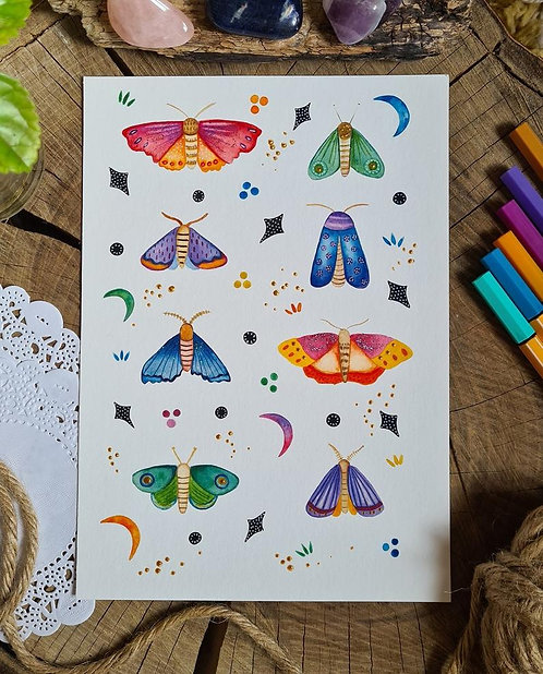 Folk moth print - crescent moon painting - folk art - Moth illustration
