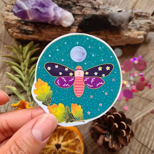Oak Moth illustrated vinyl sticker - journal sticker - laptop sticker - bottle v
