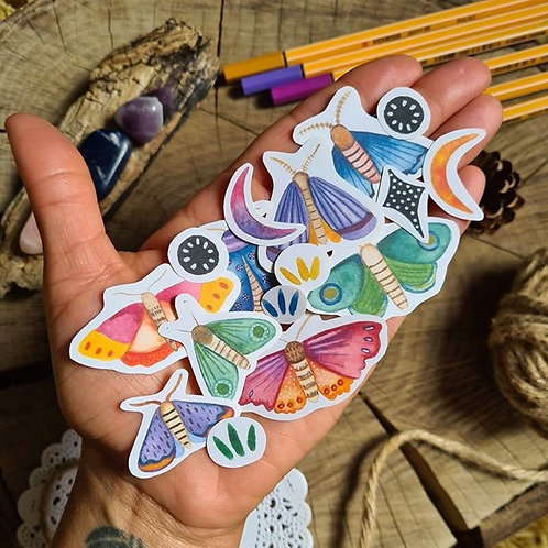 Moth journal sticker set - crescent moon illustrated paper stickers - folk stick