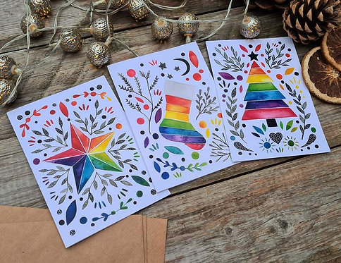 Rainbow Christmas cards - Alternative - Modern - Yule