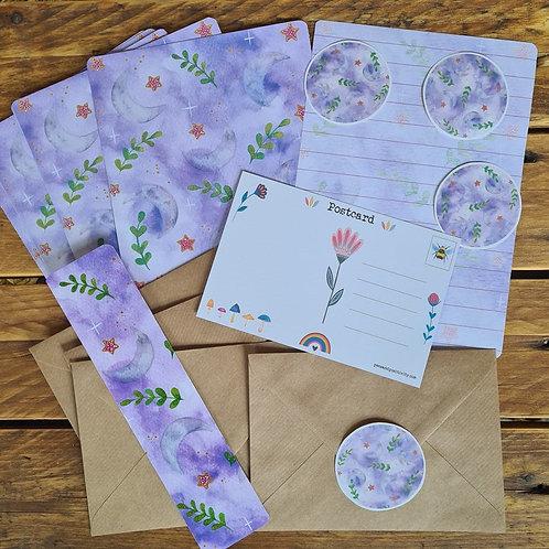 Crescent Moon Writing Set - Lunar Journaling - Purple Stationery - Writing paper
