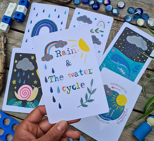 Rain and the water cycle cards - illustrated learning resources - rain education
