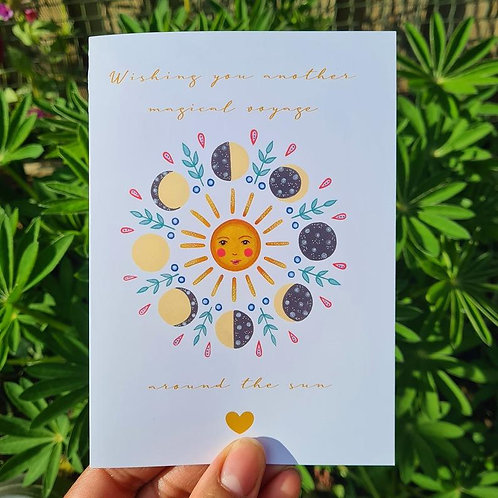 Voyage around the sun - Birthday Card - Alternative Birthday - illustrated card