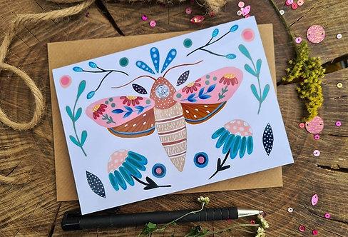 Floral Moth Folk Card - Birthday card - Blank card