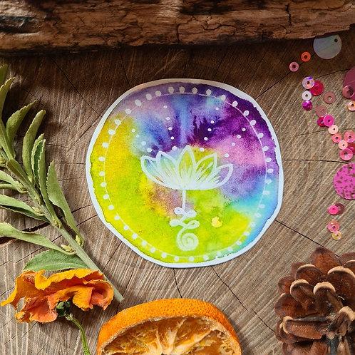 Tie dye unalome lotus illustrated vinyl sticker - journal sticker - laptop stick