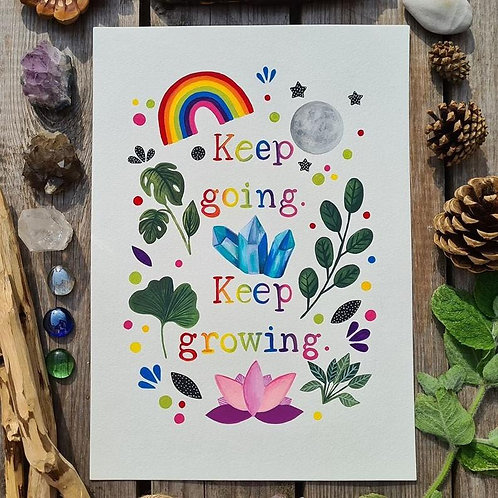 Positive quote print - Keep going painting - Folk art - Crystal illustration - R