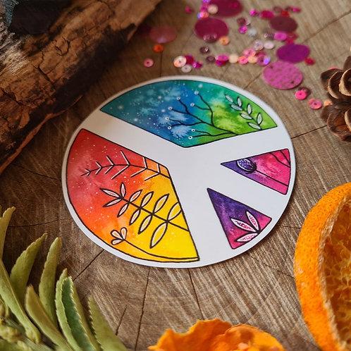 Rainbow peace illustrated vinyl sticker - journal sticker - laptop sticker - bot
