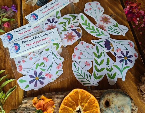 Spring journal stickers - flower illustrated paper stickers - stationery