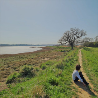 My son taking a well deserved break from a super long walk along the estuary.