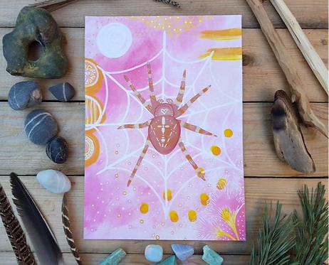 Spider print - Garden spider painting - Mixed media painting