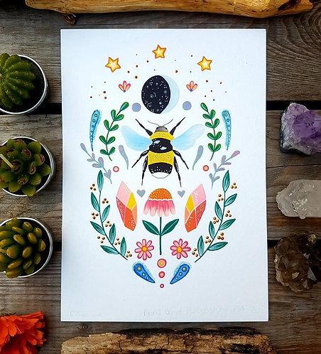 Scandinavian bumblebee print - floral moon painting - folk art - acrylic wall ar
