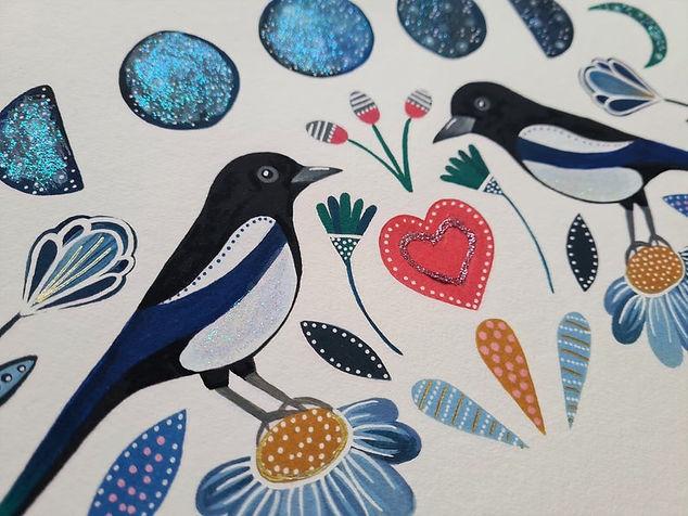 Sparkly Magpies Art Print - Folk style illustration