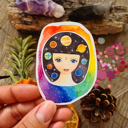Cosmic girl illustrated vinyl sticker - journal sticker - laptop sticker - bottl