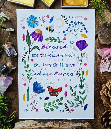 Blessed are the curious art print - Positive quote wall art - Affirmation art