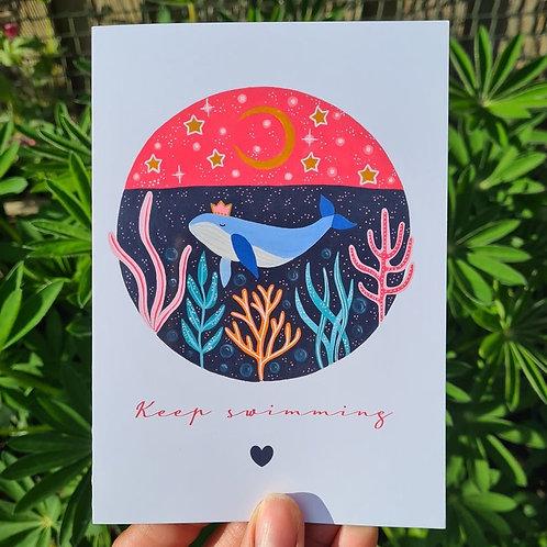 Keep Swimming Card - Self Care Card - Kindness Card - illustrated card - Greetin