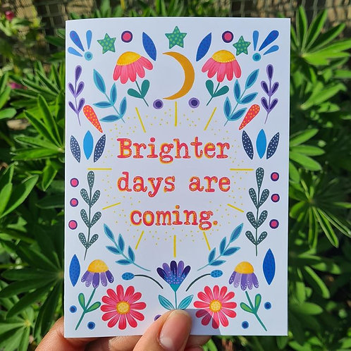 Brighter Days Card - Fresh Start Card - Covid Card - illustrated card - Greeting