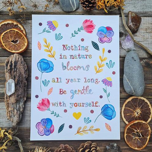 Affirmation art print - Floral painting - Flowers folk art - Self care illustrat