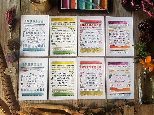 Strength affirmation cards - Positive quote - Abstract postcards - Inspirational