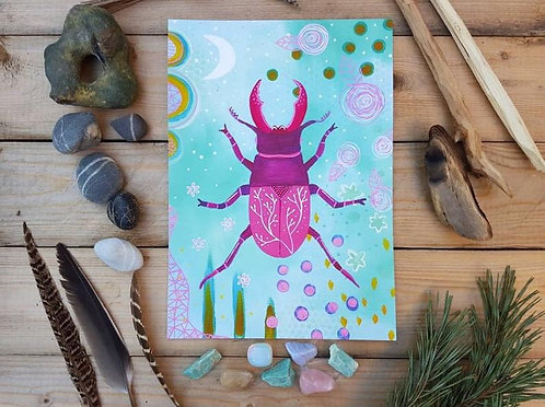 Stag beetle print - Scarab painting - Mixed media painting
