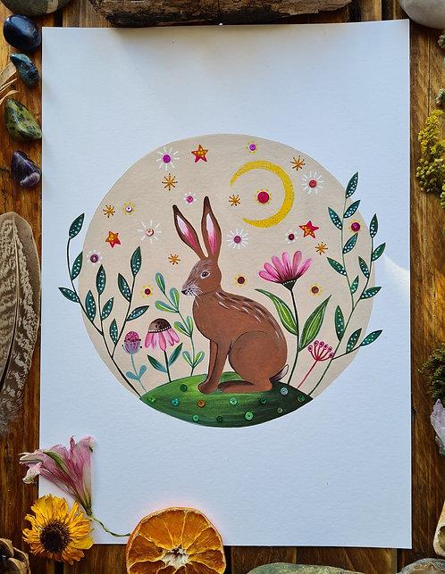 Spring Hare Art Print - Nature Wall Art - British Wildlife Art