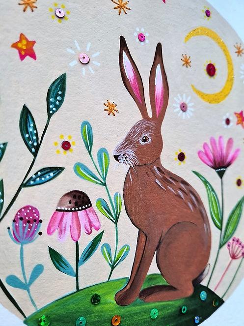 Mixed media hare illustration - Folk nature art