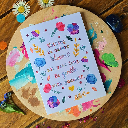 Be Gentle With Yourself - Self Care Card - Kindness Card - illustrated card - Gr