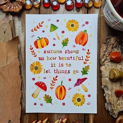 Autumn decor quote print - pumpkin quote painting - Folk art - mushroom illustra