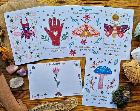 Description  Set of 5 postcard prints featuring my original feel-good paintings.