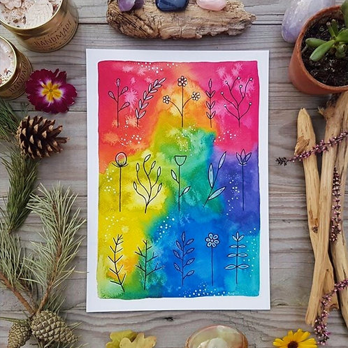 Watercolour Wildflowers Art Print