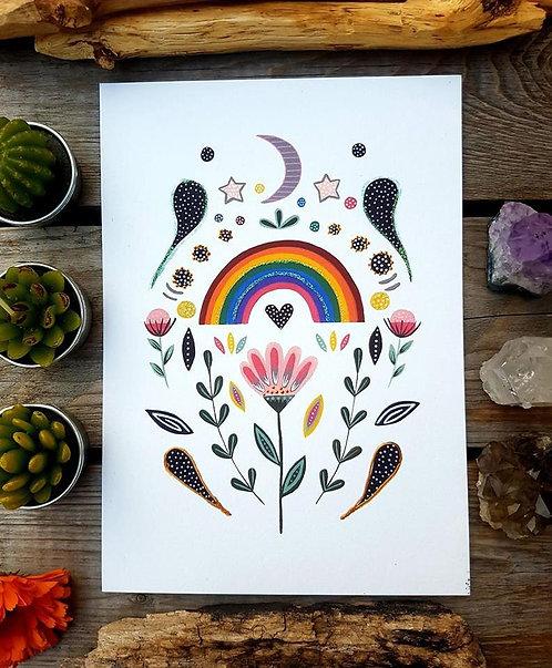 Scandinavian style rainbow print - Rainbow painting - folk art - acrylic wall ar
