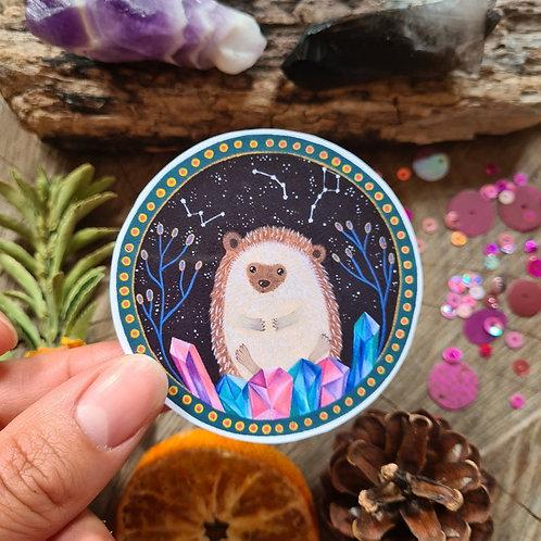 Hedgehog crystal illustrated vinyl sticker - journal sticker - laptop sticker -