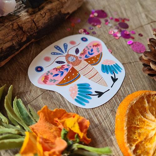 Floral Moth illustrated vinyl sticker - journal sticker - laptop sticker - bottl