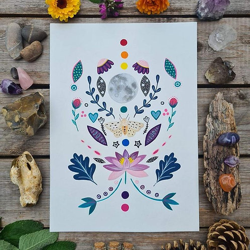 Moth art print - full moon painting - folk art - acrylic wall art - oak leaf pos