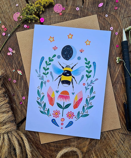 Folk Bumblebee illustrated card - Birthday card - Mothers Day card