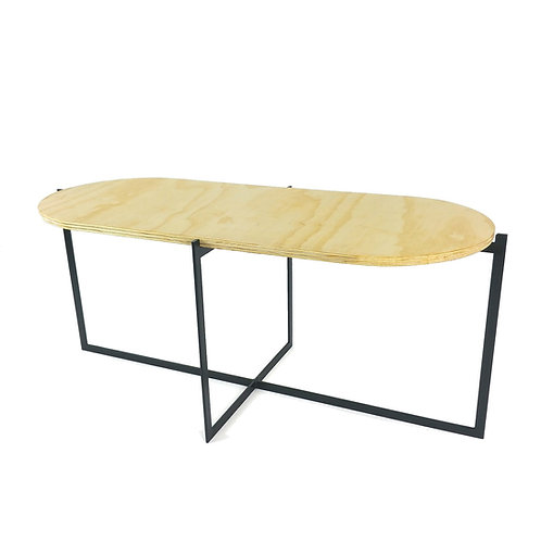 Plywood coffee table with black steel legs