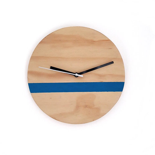 Plywood wall clock with blue stripe