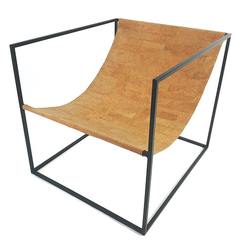 Cork leather sling chair with black steel frame