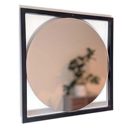Square steel framed circular mirror