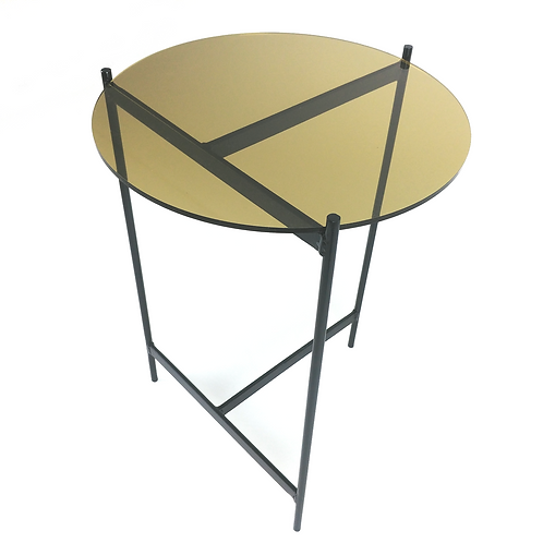 Side table with black steel asymmetric legs