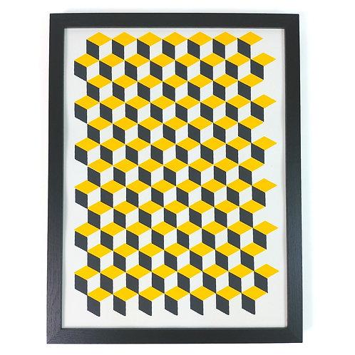 Yellow cube print