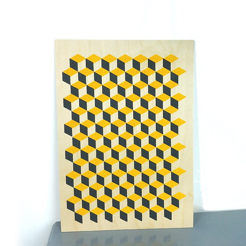 Yellow cube print on plywood