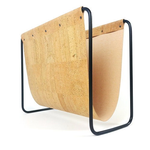Cork leather magazine rack with black steel frame
