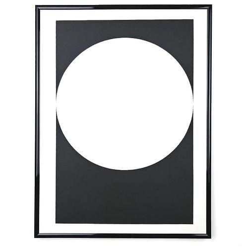 Black and white circular wall art